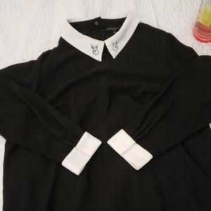 EUC black collar midi dress
